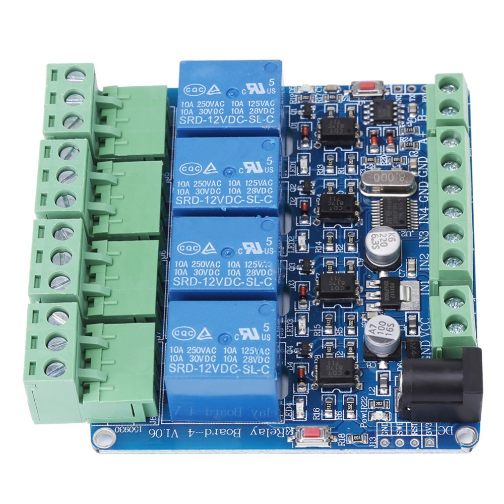 1pc DC 12V Relay 4 Channel Relay Module Board STM8S103F3 Microcontroller RS485 Relay Communication