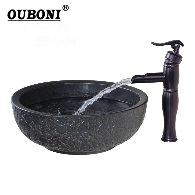 Waterfall Oil Black Rubber Faucet+Bathroom Sink Washbasin Ceramics Hand-Painted 58655-1 Lavatory Bath Brass Set Faucet,Mixer Tap
