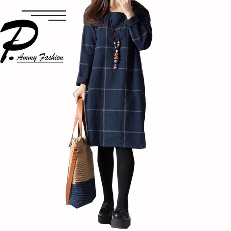 Womens Oversized Cotton & linen Checkered Jumper Dress Long Sleeves Loose Plaid Tunic Dress M~3XL