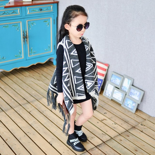 dec3e760e4927 Free shipping little girls Fashion National Style Cape Fringe Autumn Loose  Casual Tops Jackets Aztec print swearter vest -in Vests from Mother & Kids
