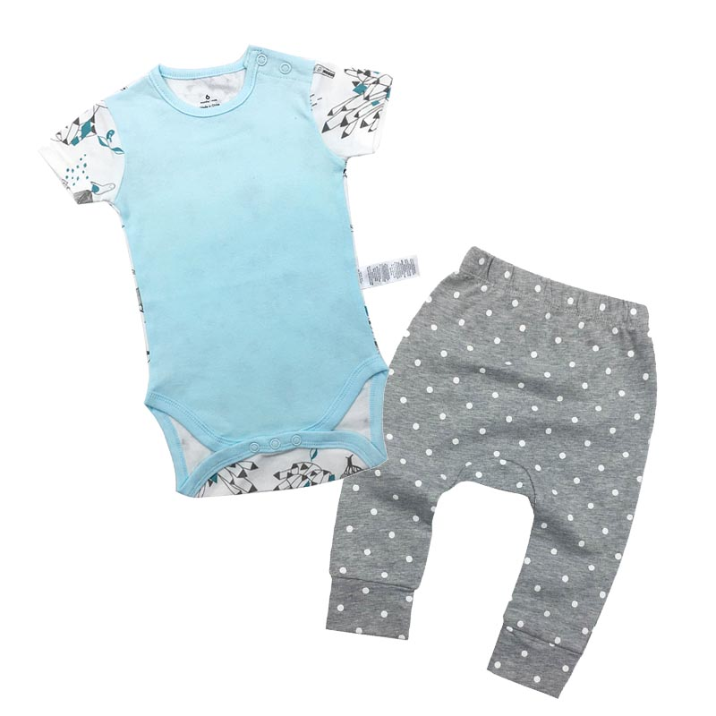 2018 Newborn Baby Girl Boy summer clothes Romper Pants 2pcs baby suit boy girl clothing sets infant cotton baby clothes pants