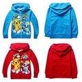 OT 2016 Niños Pikachu Hoodies Pokemon Van Ropa Camisetas de Los Niños Para El Muchacho Niños de la Historieta Outwear Tops Vestidos Traje 3-10Y