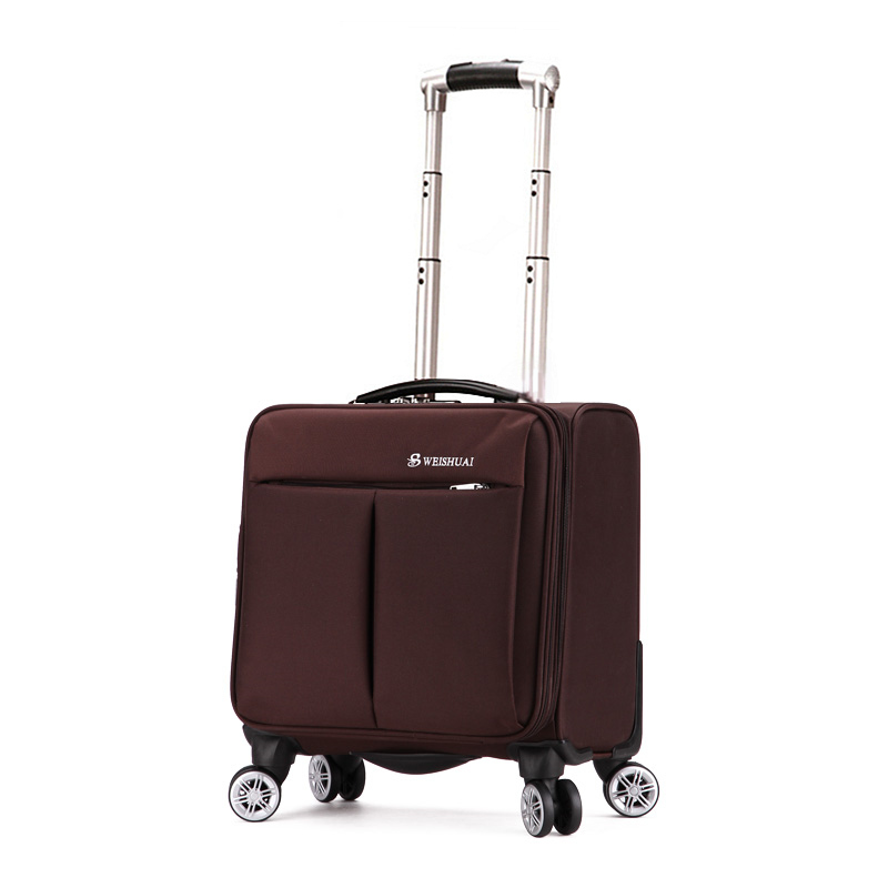 Male/female trolley luggage oxford fabric 18 small travel bag female universal wheels luggage commercial hand pull box