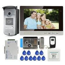 Mileview новый 10 «Цветной ЖК-Экран Видео-Телефон Двери Интерком + Открытый Rfid-считыватель Дверной Звонок Камера + Электрический Замок Бесплатная Доставка