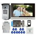 """Free Shipping New 10"""" LCD Color Screen Video Door Phone Intercom Kit + Outdoor RFID Reader Doorbell Camera + Electric Door Lock"""