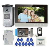 Free Shipping New 10 LCD Color Screen Video Door Phone Intercom Kit Outdoor RFID Reader Doorbell
