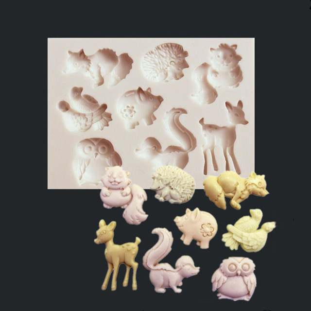 1PC Animal Series Deer Owl Shaped Fondant Silicone Mold Craft Cake Decorating Tools Chocolate Pastry Tool Baking Mold L029 3