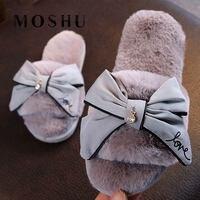 Зимняя обувь; домашние тапочки; женские меховые тапочки с бантиком-бабочкой; пушистые шлепанцы; Розовая теплая Домашняя обувь на плоской по...