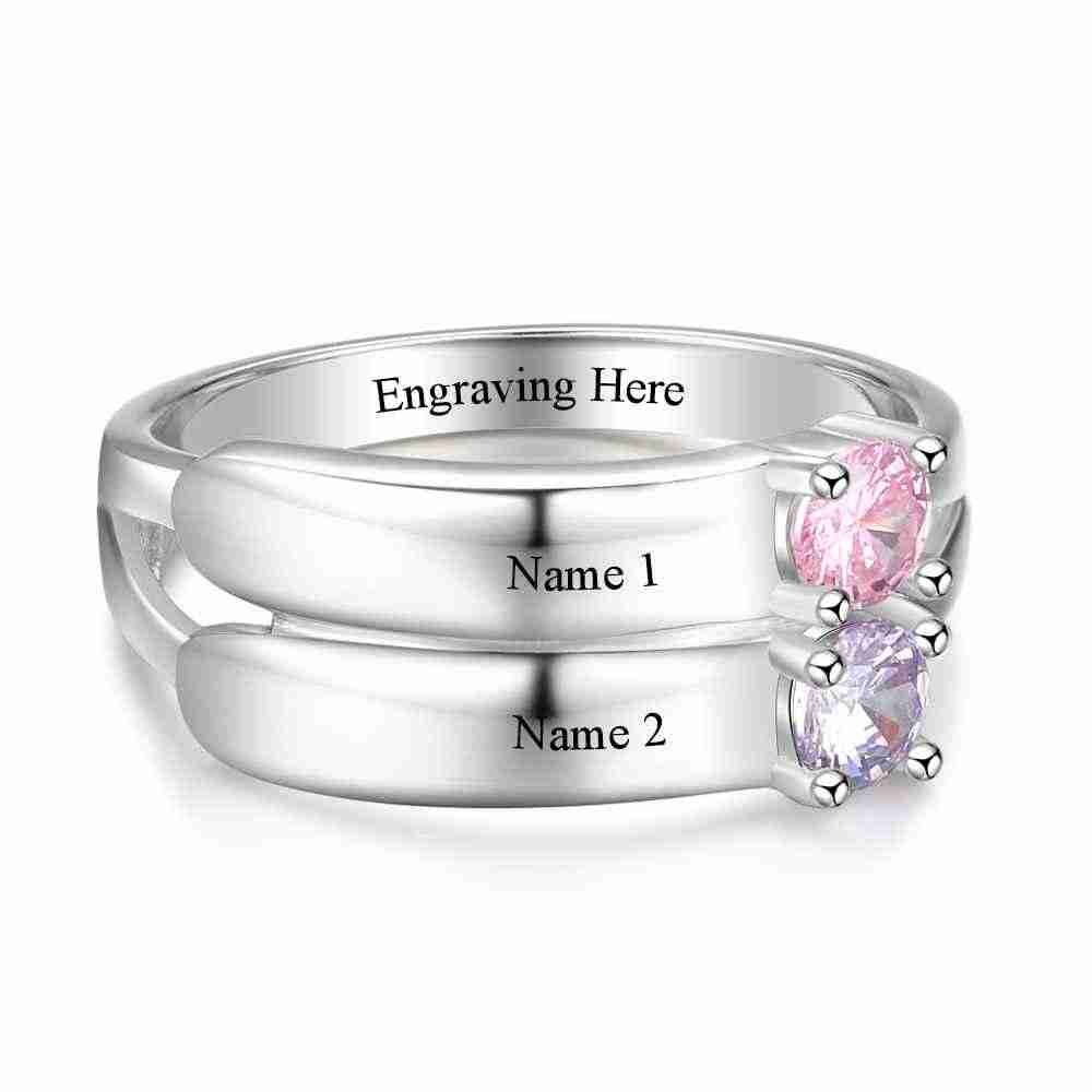 8c4d9def37 ... Love Promise Rings For Women Personalized Birthstone Ring Custom Engrave  Names 925 Sterling Silver Jewelry ...