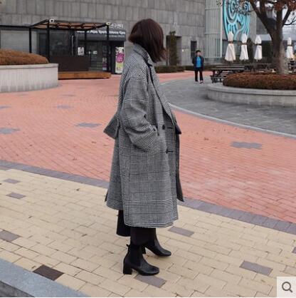 Automne Lâche La Et Sauvage setter De Laine Tendance Femelle Grande Nouvelle En Longue Manteau Gris Mode Taille 2017 Coa Hiver Section Treillis 8qSw7ZpW7