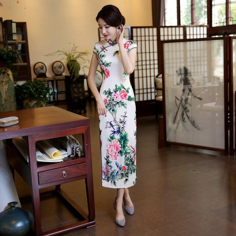 Haute couture col Mandarin soie Satin Cheongsam chinois traditionnel imprimé Qipao fleur élégante Sexy longue robe Plus SZ M-4XL