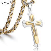 Cristos cruz Colar de Aço Inoxidável Pingente Corrente de Ouro Bizantino Colares Homens Jóias Presentes com pacote