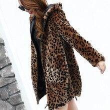 Женское леопардовое пальто из искусственного меха на осень и зиму, шерстяное пальто