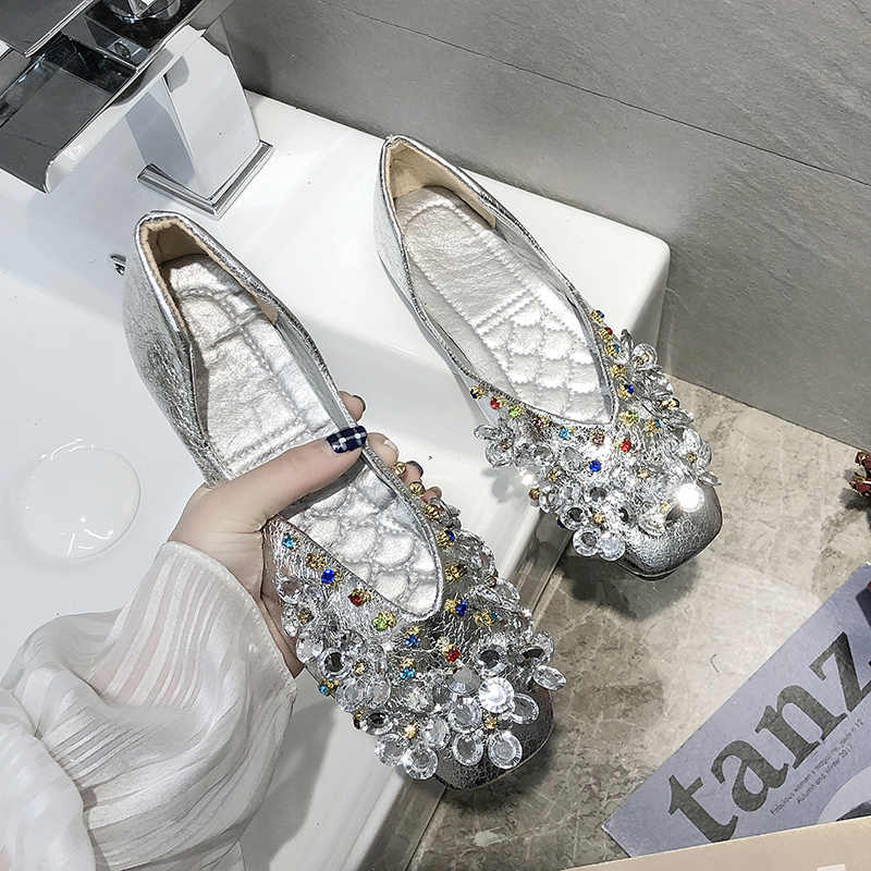 Party Fabric 2019 Shallow new comfortable soft women spring flat Slip-On Crystal Rubber ballet PU Bling fashion Square Toe