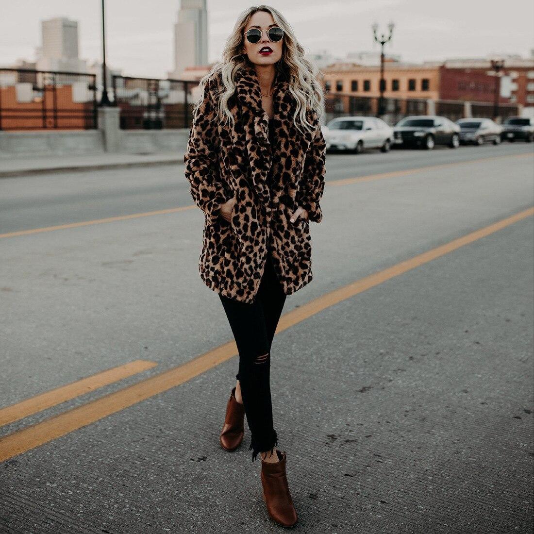 0  Fashion Women s Leopard Faux Fur Coat Turn down Collar Warm Long Coats  Female Winter Plus Size Casual Outerwear-in Faux Fur from Women s Clothing    ... 37548c35e