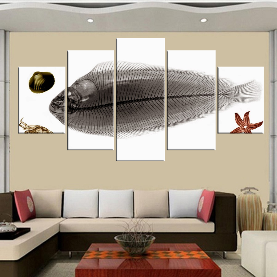 Free Shipping 5 Canvas Oil Painting Arowana and Diving Fish Series ...