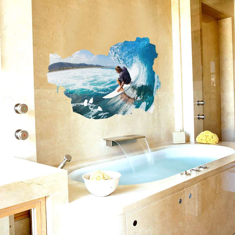 Kids Room Sea Surfing 3d Wallpaper Wall Stickers Boy Room Decoration