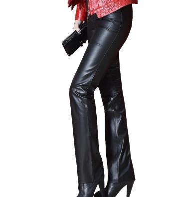 13a5411eccdc6e Genuine leather pants high waist boot cut pants feet bell-bottom casual  pants leather pants tight-fitting female trousers wide