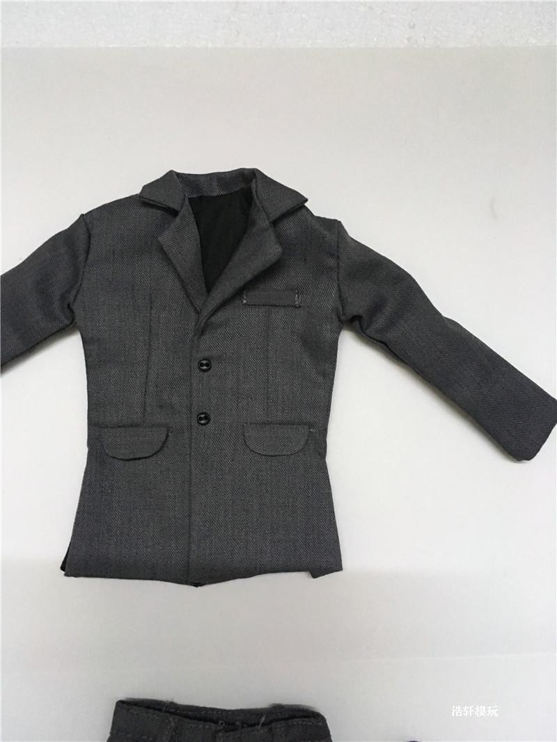 1/6 Scale Men's Grey Suit Coat Pants Shirt Tie Models For 12'' Action Figures Bodies Toys Gifts Accessories DIY