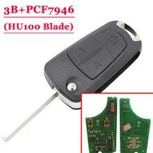 Бесплатная доставка (1 шт.) 3 Кнопка флип ключ для Opel Тип #1 с HU100 433 мГц PCF7946 чип