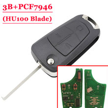 Free shipping (1pcs ) 3 button flip key For Opel type#1 with hu100 433MHZ PCf7946 chip(China)