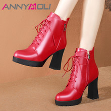 ANNYMOLI Winter Ankle Boots Women Natural Genuine Leather Platform Block Heel Short Boots Zip Extreme High Heel Shoes Female Red цена