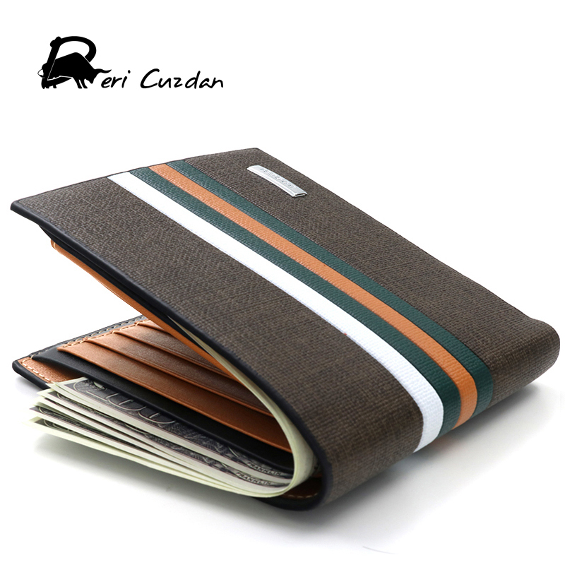 DERI CUZDAN Famous Brand Men's Leather Wallet Credit Card Id Holder Stripe Men Purse Brown Male Wallet Card Pocket Portfolio Man туфли deri