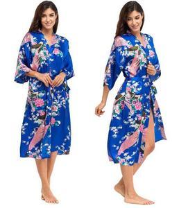 Image 3 - RB015 атласные халаты для невест, Свадебный халат, пижама, шелк, пижама, повседневный халат, животное, искусственный шелк, длинная ночная рубашка для женщин, кимоно XXXL