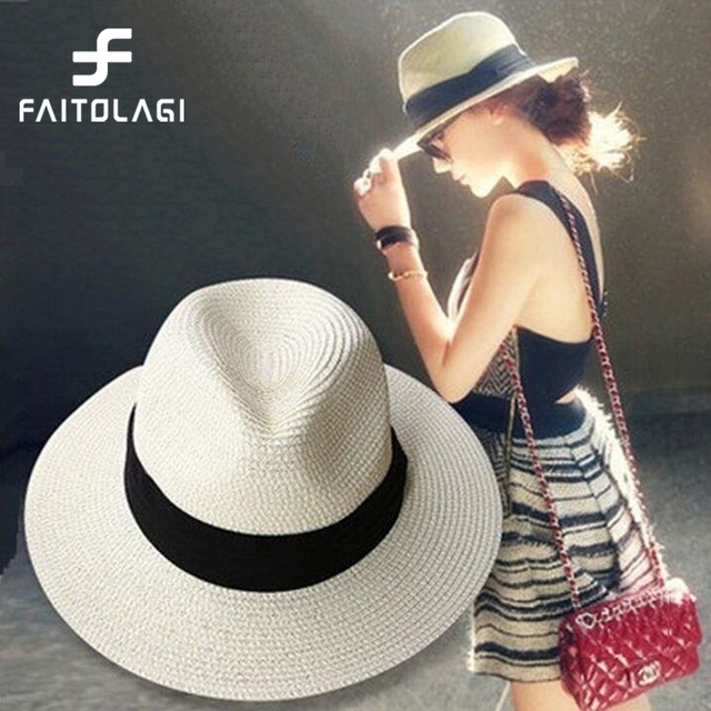 Summer Floppy Straw Beach Sun Hats Women Beach Hats Wide Brim Panama Hat 0eb380c91813