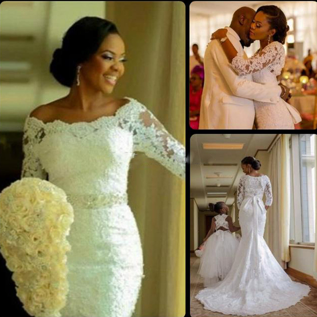 2017 New Fashion Nigerian Wedding Dress 3 4 Long Sleeve Lique Lace Mermaid With Crystals