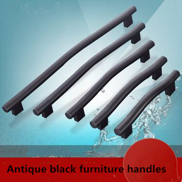 "320mm modern simple black furniture large handles 12.6"" black kitchen cabinet wardrobe dresser door handle pull with screw"