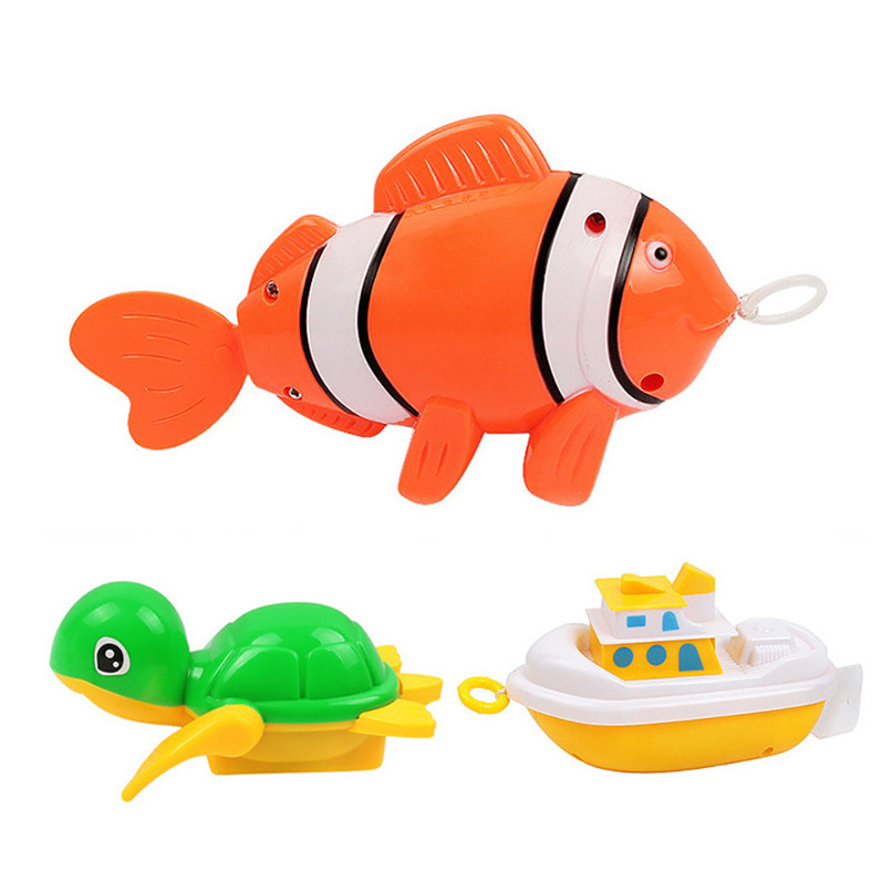 Dabbling Toy Random Color Plastic Animal Model Toy Wind Up Clockwork Toy Baby Bath Shower Toys suit for Tub or Pool JE08#F
