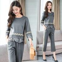 Plus Size Patchwork Crochet Top Pants Set Chic Pastel Two Piece Set Suit Elegant Women S