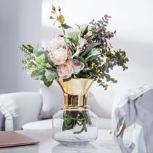 European Hydroponic Vase Decoration Living Room Flower Arrangement Glass Transparent Fresh Golden Open