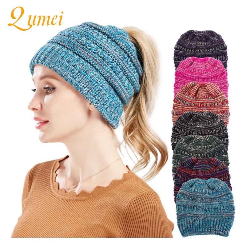 2018 Soft Knit Ponytail   Beanie   Hat Winter Cap Women Woolen Warm Cap Ladies   Skullies     Beanies   Fashion Casual Stretch Knitted Hats