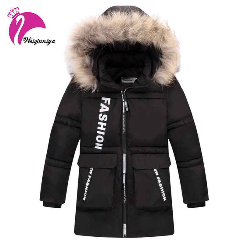 New 2017 Children Winter Jacket For Boys Fashion Fur Hooded Thick Cotton-Padded Boy Long Coat Solid Parka Kid Clothes Outwears new fashion 2017 winter jacket for boys parkas children outerwear coat hooded jacket kids warm cotton padded clothes boys jacket