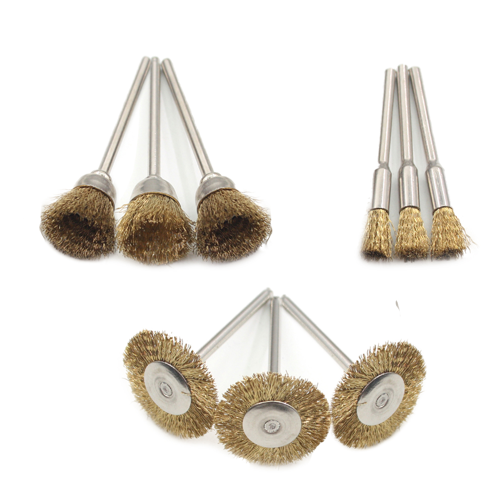 9pcs Copper Wire Brush Metal Wire Brush Roller Rust Removal Wood Working Bits Abrasive/polishing Bits Accessory