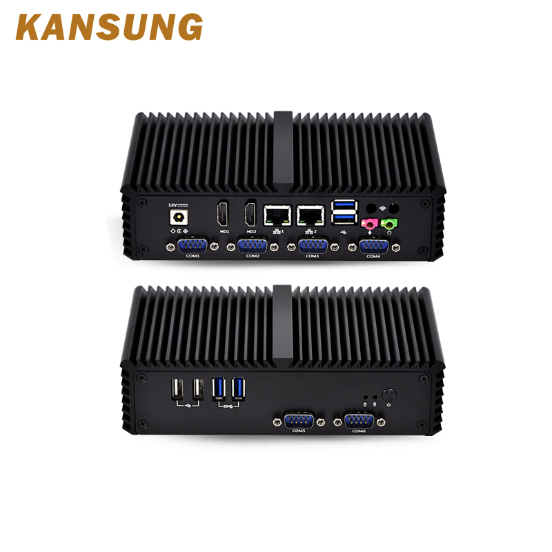 Intel Celeron 3215U Mini Pc 6 RS232 Serial Port Support Linux Barebone Windows 10 X86 Server Fanless Mini Desktop Pc
