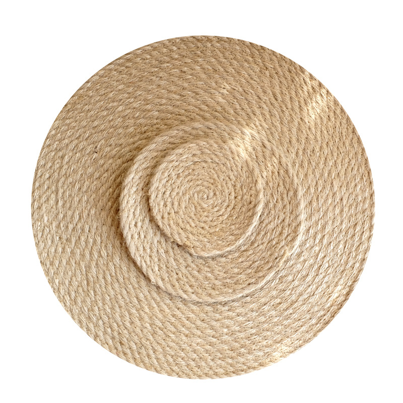 3Pcs/Lot Flax Straw Circular Thickened Home Furnishing Kitchen Table Anti Hot Insulation Pad Cup Dish Pot Mat Linen Hand Made
