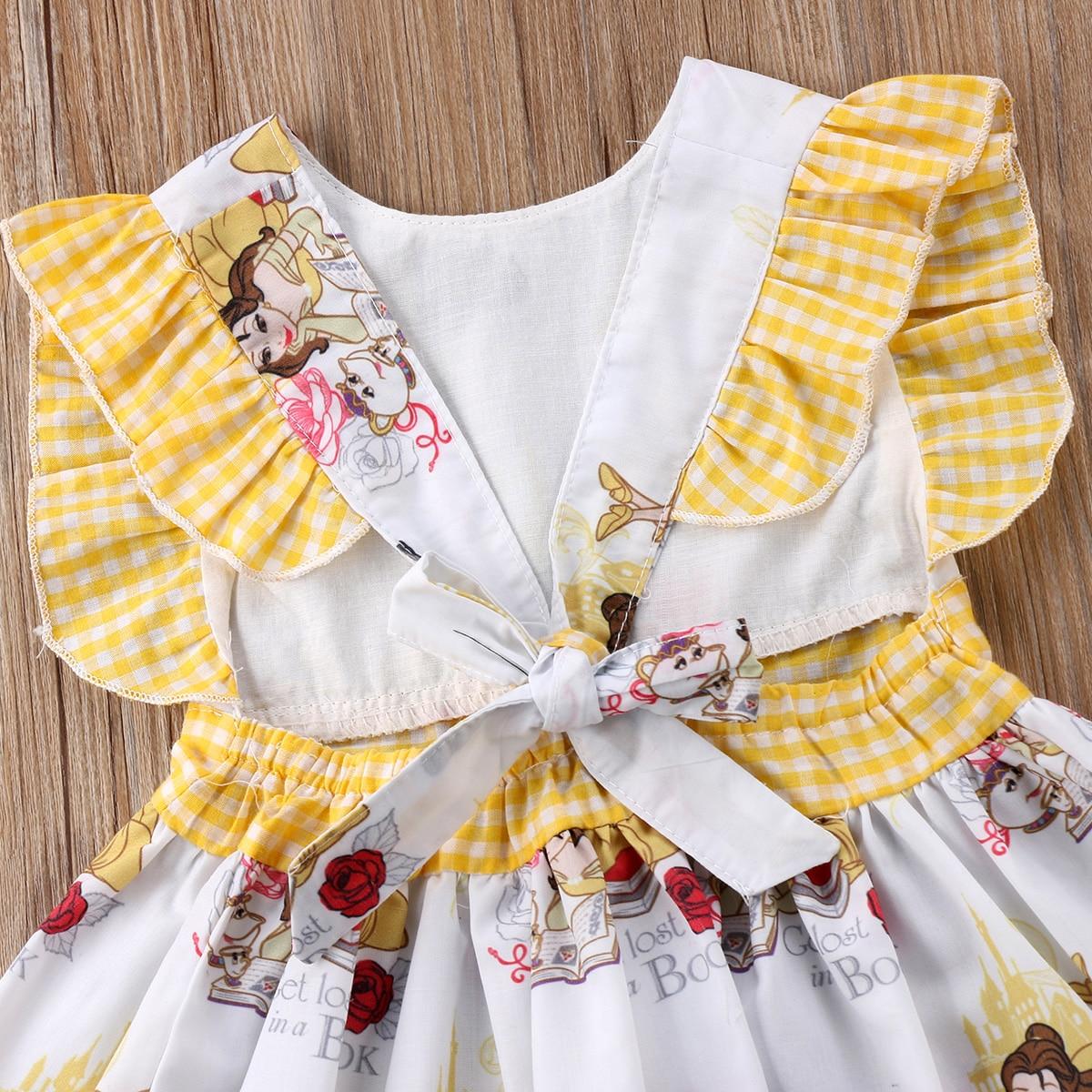 e56b4051d015f US $4.82 10% OFF|Baby Girls Toddler Cartoon Ruffles Dress Kids Bowknot  Princess Party Tutu Mini Dress-in Dresses from Mother & Kids on  Aliexpress.com ...