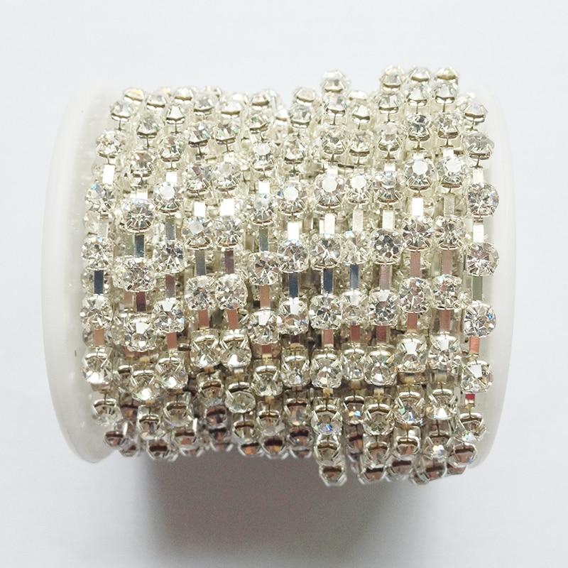 10 ярда / ролка чиста кристал верига SS6 да SS38 сребро база кристал верига diy сватбена рокля аксесоари
