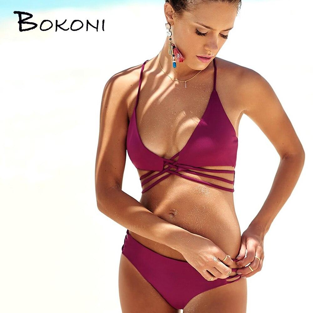 Retro Sólido Sexy Bikinis Mujeres Traje de Baño Empuja Hacia Arriba Bikini Set V