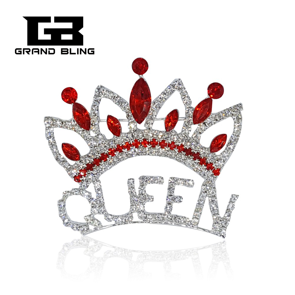 Blingbling Red Strass Crown Brosche Pin für Queen Lady Geschenk