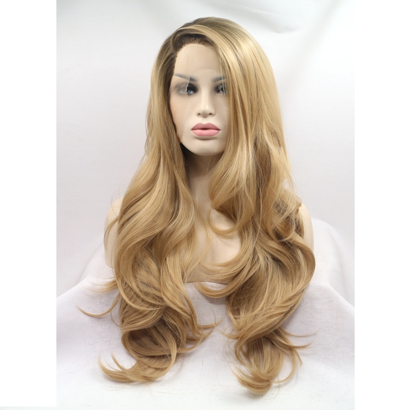 JOY BEAUTY Dark Roots premium black to Brown body wave synthetic lace front wig heat resistant