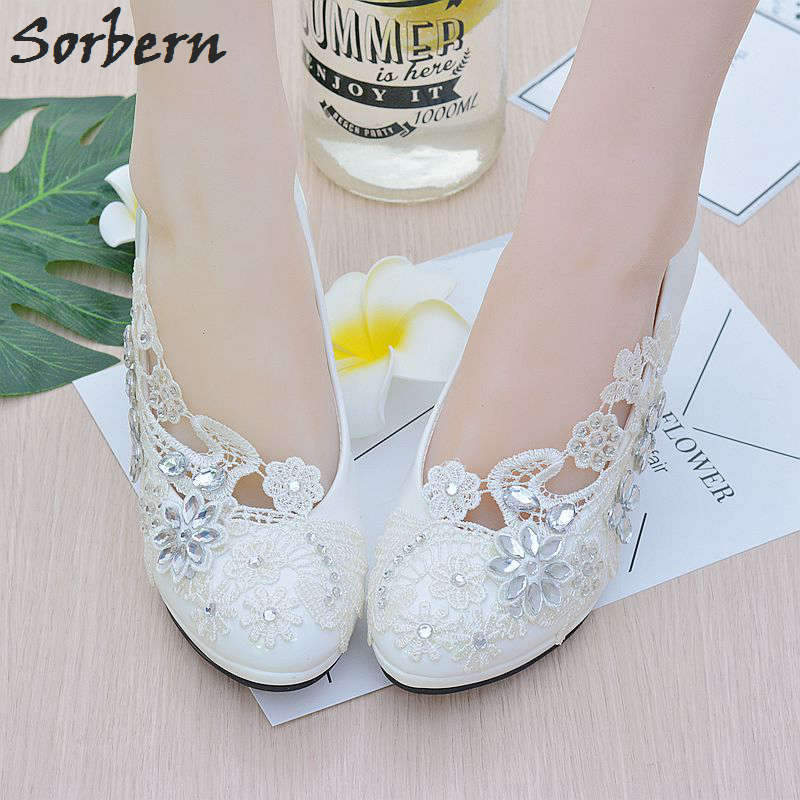 Sorbern White Flower Lace Crystals Wedding Shoes Round Toe Slip On Bridal Shoes Pumps High Heels Women Heels Bridesmaid Shoes new arrival white wedding shoes pearl lace bridal bridesmaid shoes high heels shoes dance shoes women pumps free shipping party