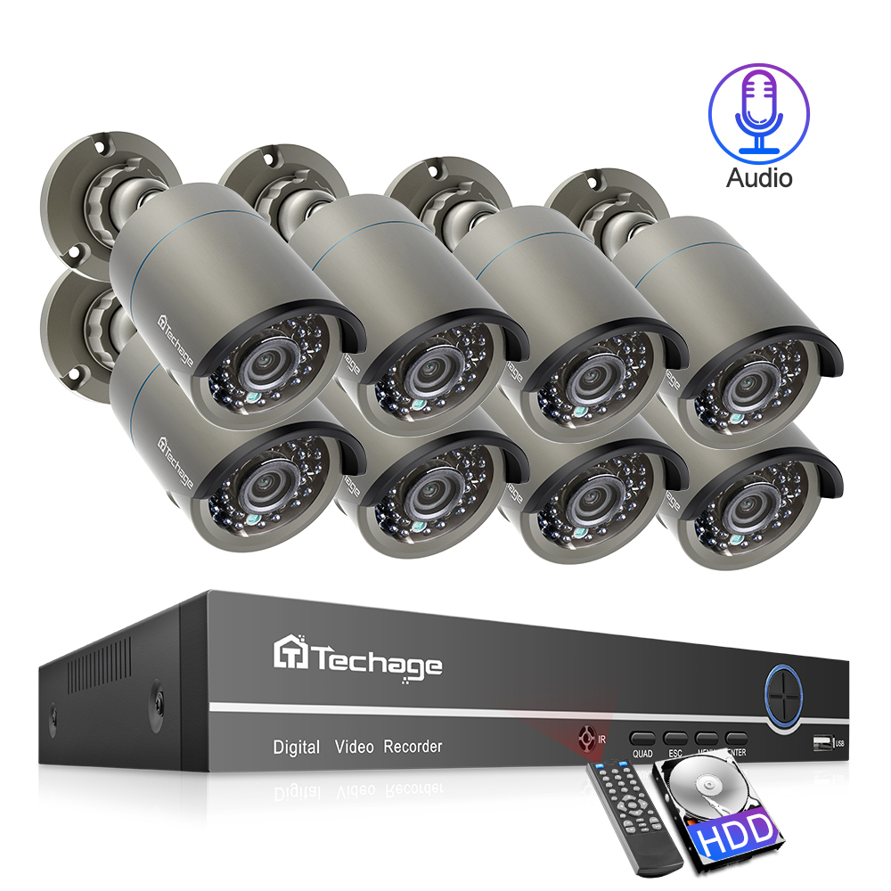 5mp 3mp 2mp Black 36pcs Infrared ICsee Waterproof Audio H 265 25fps 8CH 8 Channel WIFI