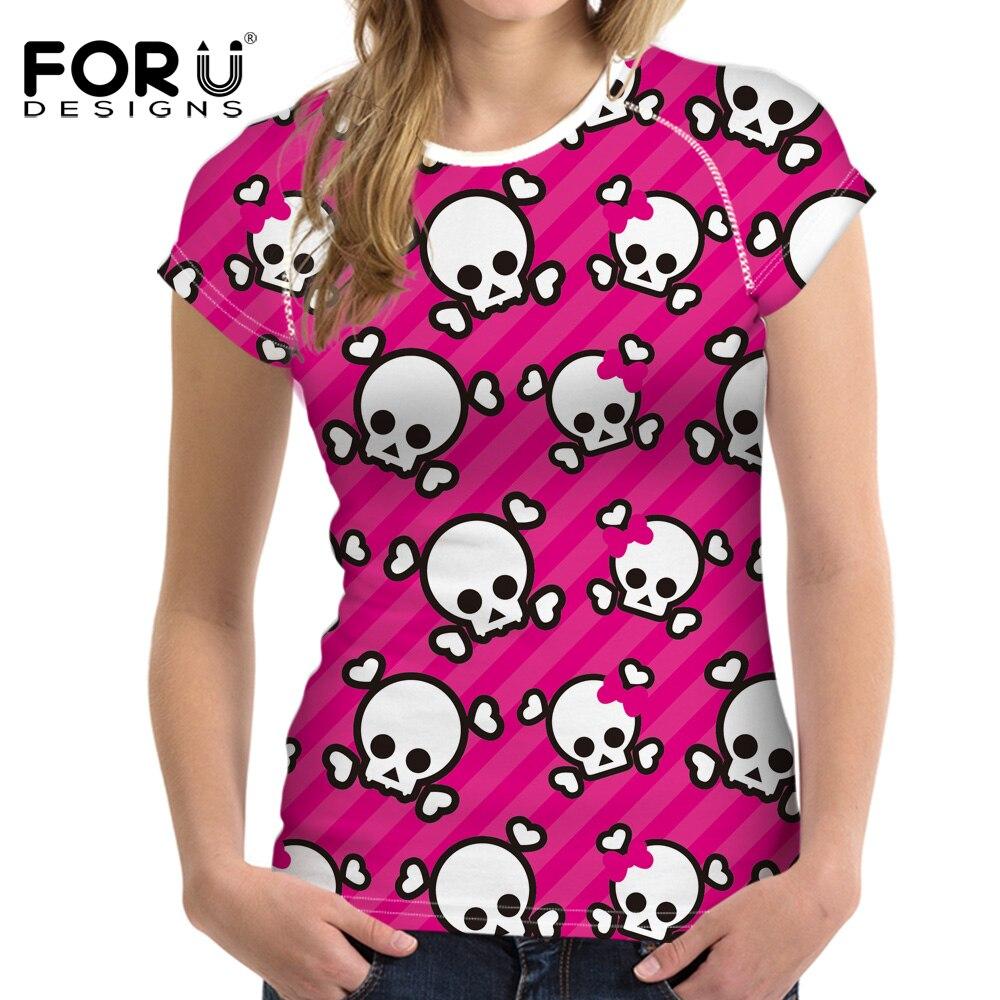 FORUDESIGNS t shirt Women Street Style Skull Ptinted t-shirt Young Girls Punk tshirt Femmes Tops Vogue Cool