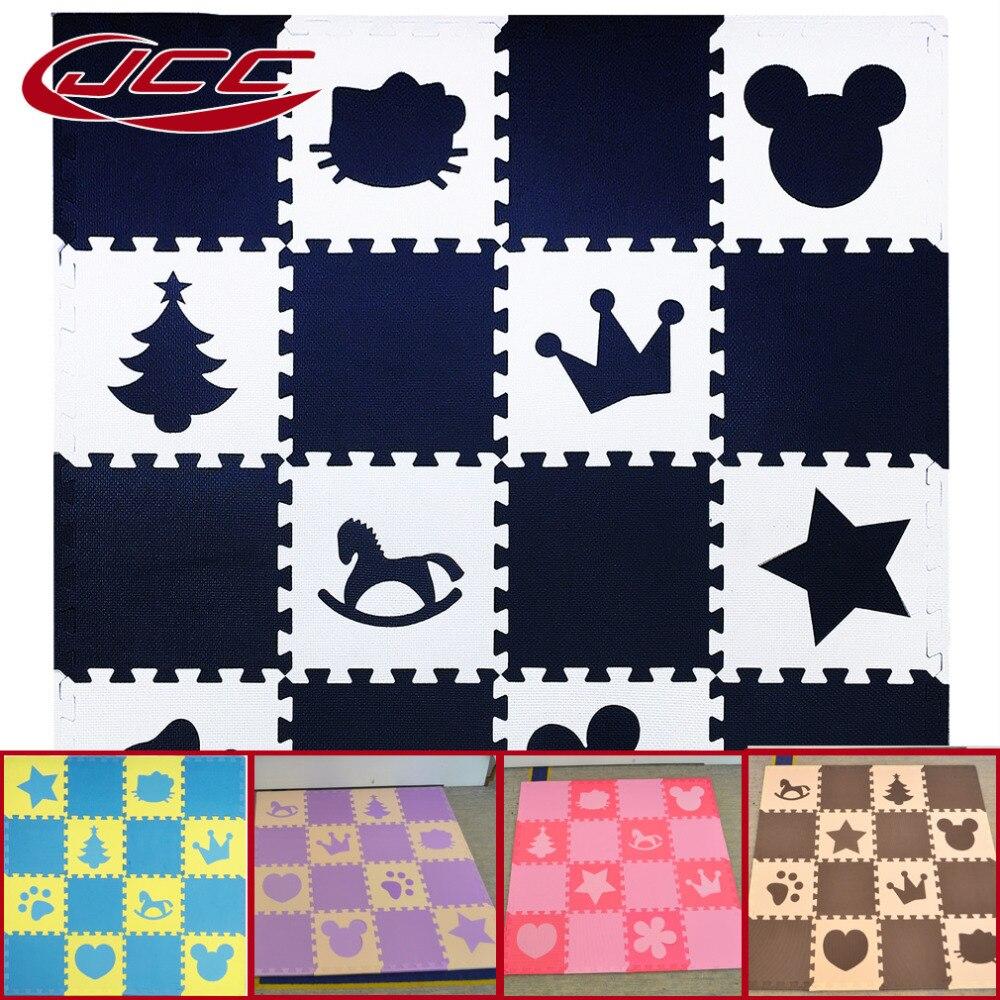 JCC bébé EVA mousse Puzzle tapis de jeu/enfants tapis jouets tapis pour enfants verrouillage exercice carrelage, 16 ou 18 pièce/ensemble, bord libre