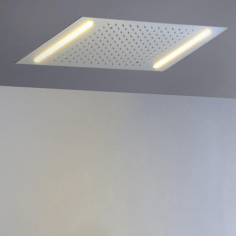 LED Cabeça de Chuveiro 500*360mm Incorporado Teto Montado Luzes Do Banheiro Do Chuveiro Chuveiros de Chuva 304 SUS Polido precisa poder