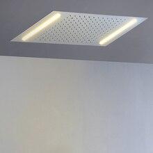 Светодиодный насадки для душа 500*360 мм встроенный, потолочный установлен осадков душ ванная комната огни 304 SUS полированная нужно мощность